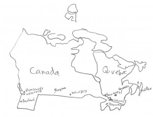 Map of Canada at the time of the Peace of Houston