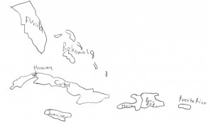 The main countries of the Caribbean Alliance at the time of the Peace of Houston