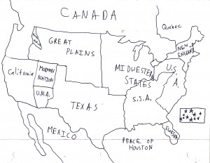 A map of the nations of North America at the time of the Peace of Houston