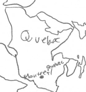 Map of Quebec at the time of the Peace of Houston