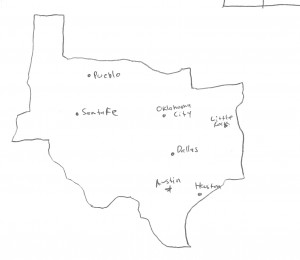A map of Texas at the time of the Peace of Houston